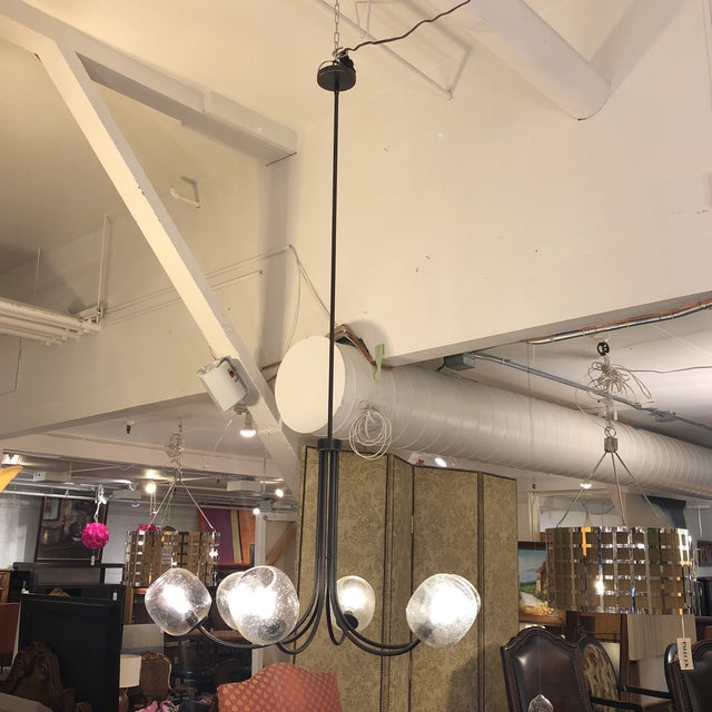 Contemporary West Elm 6-Light Eclipse Chandlier For Sale - Image 3 of 13