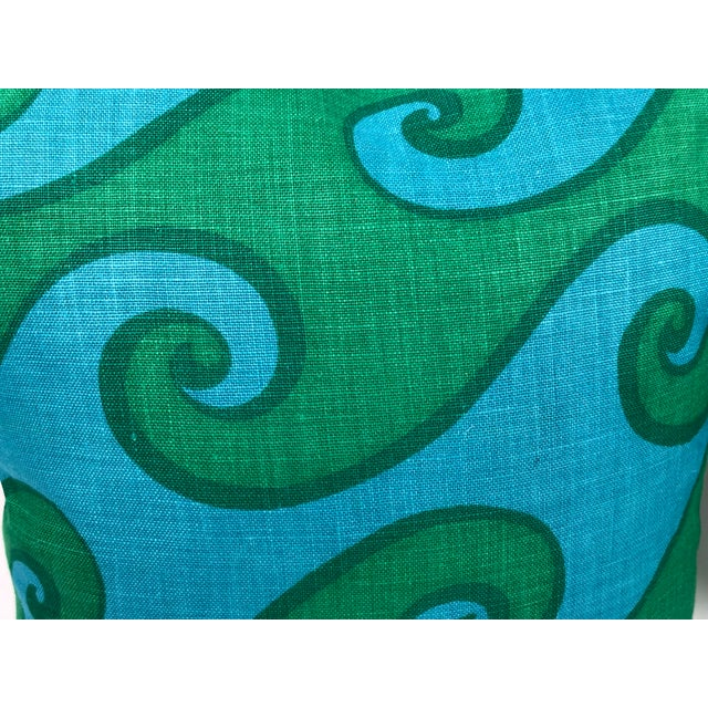 Vintage Blue and Green Sea Scroll Pattern Pillows Hand Printed by Elenhank - a Pair For Sale - Image 11 of 12
