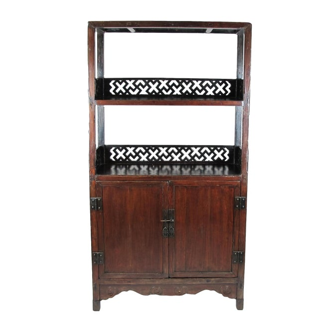 Asian Style Elmwood Book Cabinet For Sale