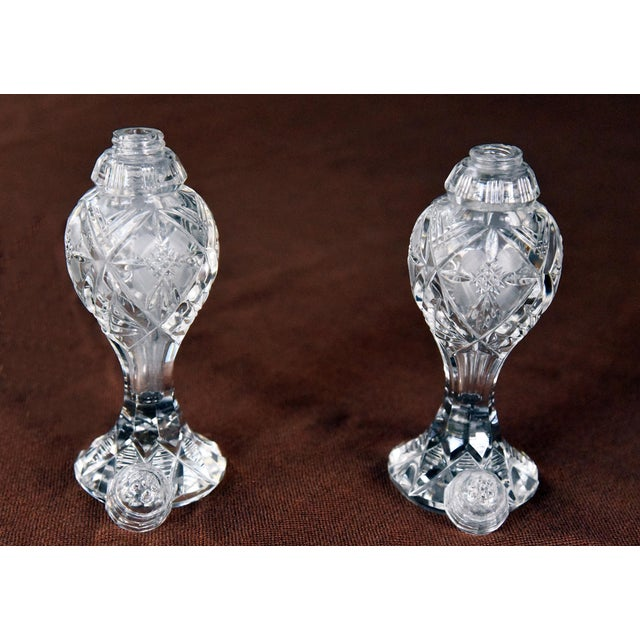 American Vintage Ornate Bohemia-Czech Heavy Hand Cut Lead Crystal Salt & Pepper Shakers - A Pair For Sale - Image 3 of 6
