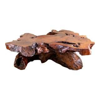 Burl Wood Coffee Table | Live Edge Redwood Slab For Sale