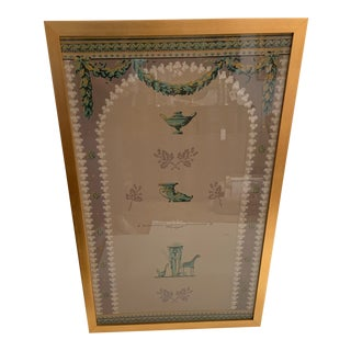 Vintage Century Empire Style Framed Wallpaper Panel For Sale