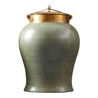 Tozai Home Large Jade Shagreen Temple Jar With Bronze Lid For Sale