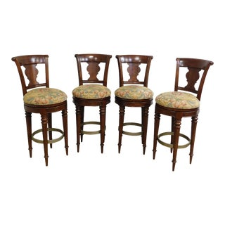 English Regency Style Mahogany Swivel Barstools - Set of 4 For Sale