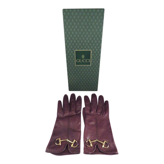 Vintage Gucci Leather and Gold Horse Bit Driving Gloves For Sale