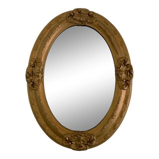 Antique Early 20th Century Eight Panel Oval Gold French Wall Mirror For Sale