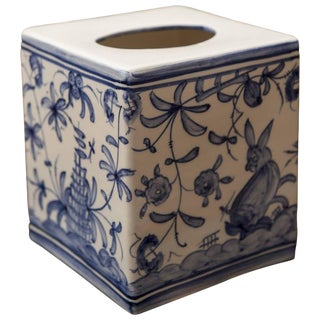 1960s Vintage Blue & White Tissue Box For Sale