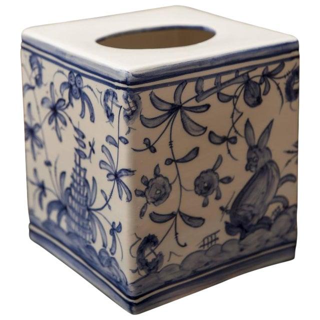 1960s Vintage Blue & White Tissue Box For Sale