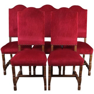 Vintage Spanish Mission Red Dining Chairs - Set of 5