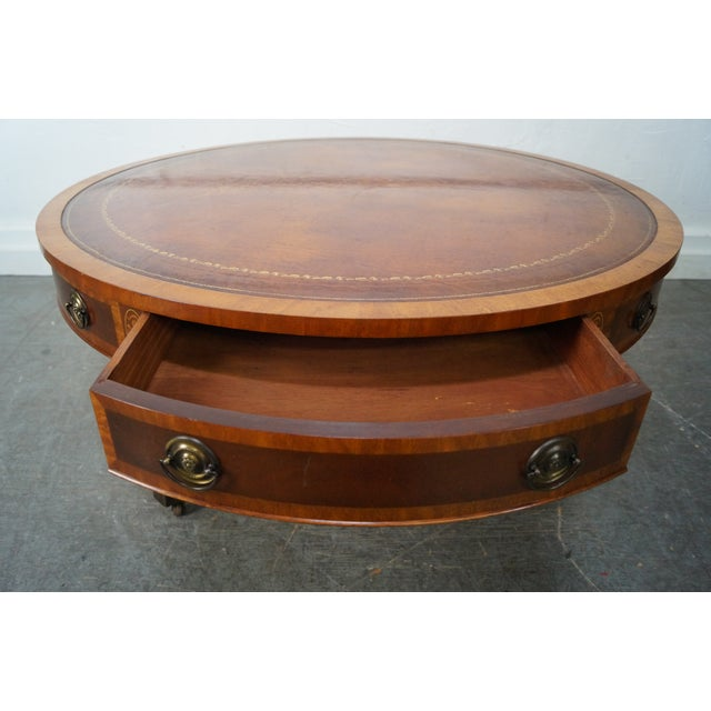 Mahogany Inlaid Leather Top Round Federal Style Coffee Table - Image 2 of 10