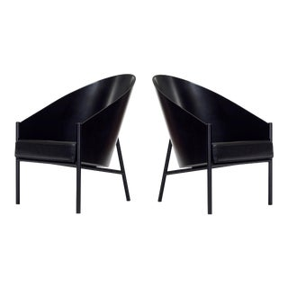 1980s Philippe Starck Pratfall Lounge Chairs in Black Leather, - A Pair For Sale