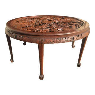 Round Highly Carved Chinese Dining Table For Sale