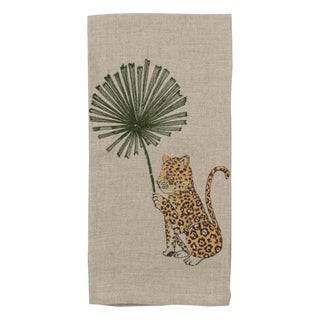 Jaguar With Palm Right Tea Towel For Sale