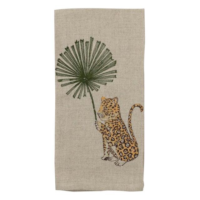 Jaguar With Palm Right Tea Towel For Sale