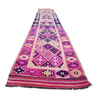 1970s Vintage Turkish Oushak Pink Rug Runner - 2′6″ × 14′1″ For Sale