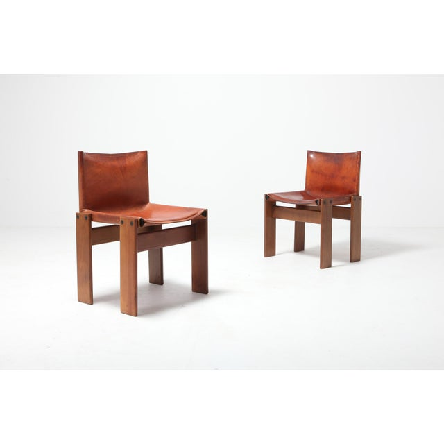 Scarpa 'Monk' Chairs in Patinated Cognac Leather, Set of Four For Sale - Image 9 of 11