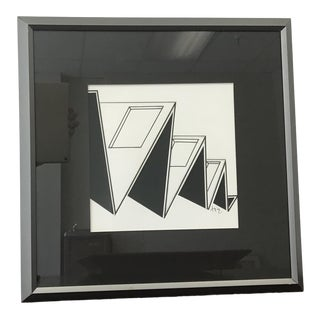 Minimalistic Geometric Paper Cut Out Art. Contrasting Black and White For Sale