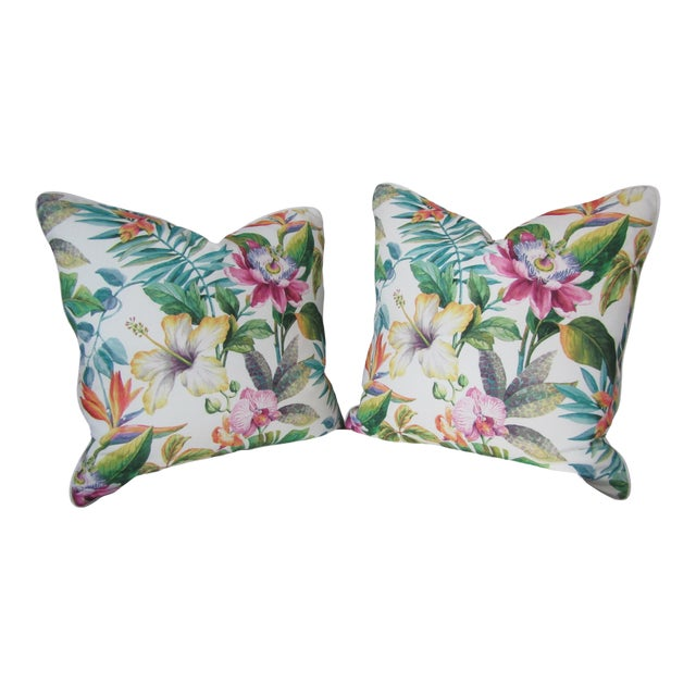 Contemporary Tropical Floral Print Accent Pillows - a Pair For Sale