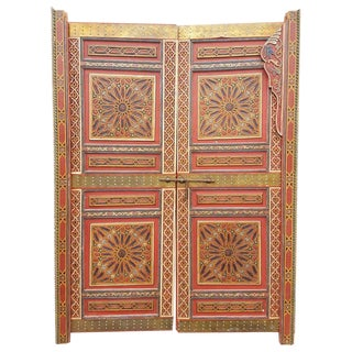 Moroccan Hand-Painted Double Door For Sale