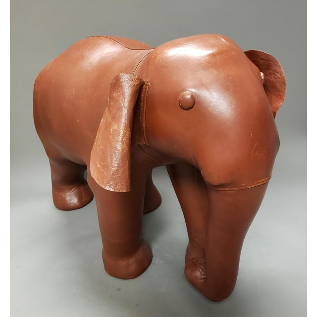 Late 20th Century Very Large Mid Century Brown Leather Elephant Statue Ottoman For Sale - Image 5 of 7