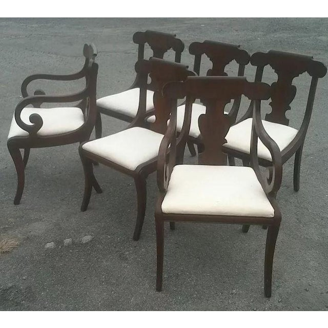 Regency Dining Chairs With Scrolled Arm - Set of 6 For Sale - Image 4 of 12