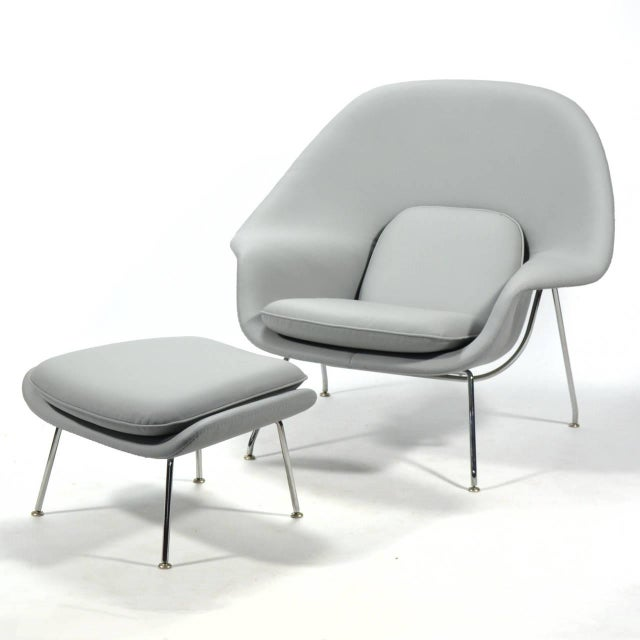 Eero Saarinen Womb Chair and Ottoman in Leather by Knoll - Image 5 of 11