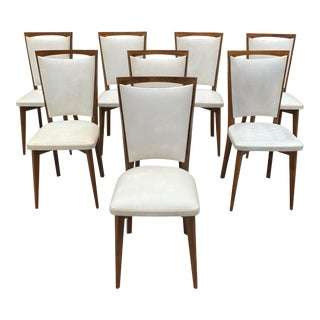 1940s Vintage French Art Deco Solid Mahogany Dining Chairs- Set of 8 For Sale