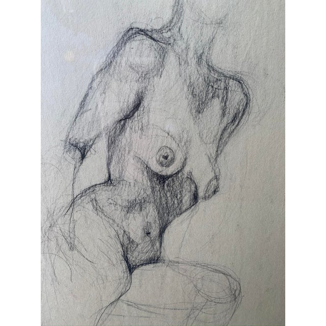 Framed charcoal pencil figure drawing of nude female. Charcoal on paper. Artist: Mia Glieberman