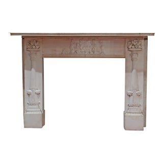 Antique White Marble Mantel For Sale