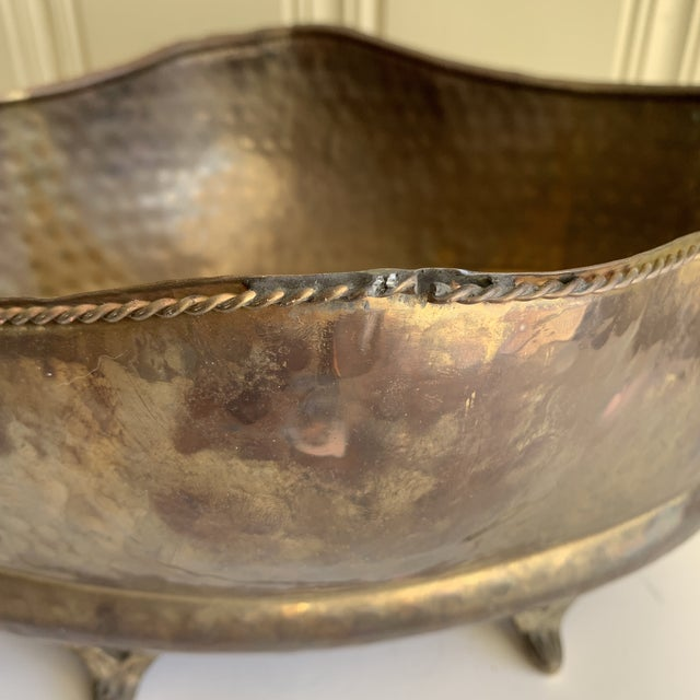 Classic English Cottage Style Aged Brass Plant Vessel For Sale - Image 10 of 13