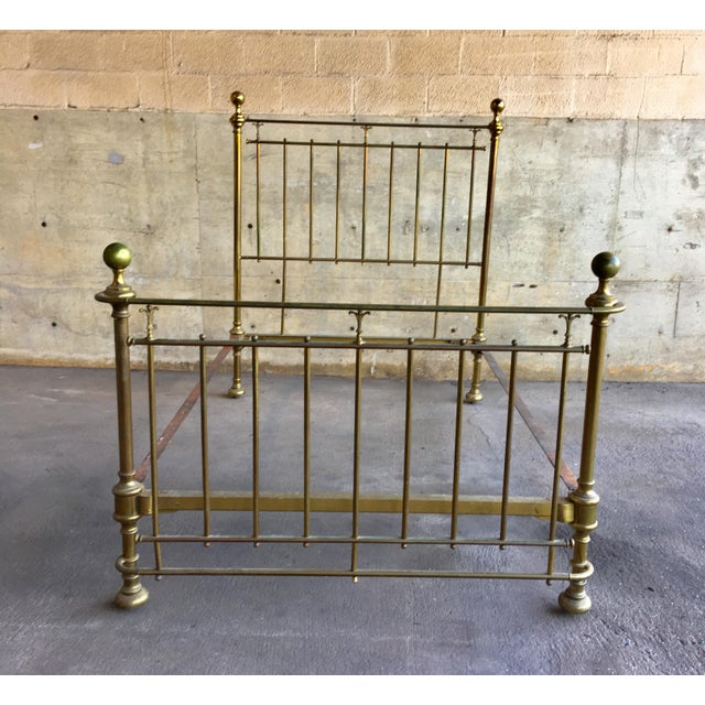 Vintage Traditional Brass Full Size Bedframe For Sale - Image 12 of 12