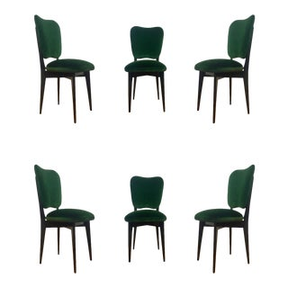 1960s Mid-Century Modern Ico Parisi Green Upholstered Dining Chairs - Set of 6
