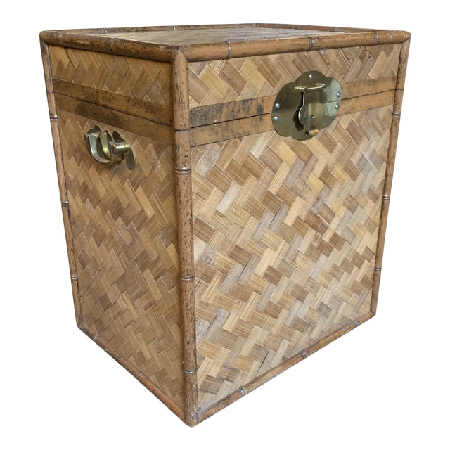 Vintage Rattan Chest Drink Table For Sale