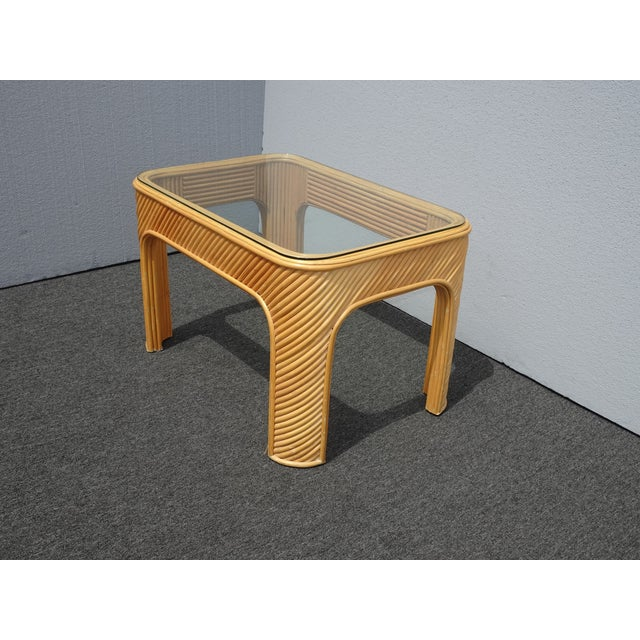 Vintage Mid Century Modern Split Bamboo Rattan Coffee End Table For Sale - Image 4 of 11