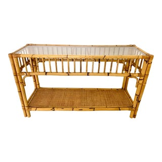 Vintage Rattan Console With Glass Top For Sale