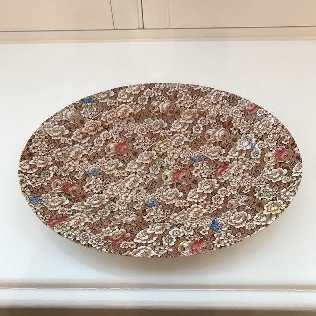 "Ceramic 1940s Vintage Empire England Brown Chintz ""Rosalie"" Platter For Sale - Image 7 of 8"