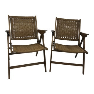 Vintage Mid Century Modern Folding Rope Chairs in the Style of Hans Wegner For Sale