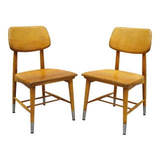 Vintage Thonet Style Bentwood Maple Dining Side School Chairs-a Pair For Sale