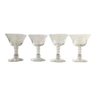 "Vintage 1980s Fostoria Crystal Etched ""Rose"" Pattern Champagne Glasses - Set of 4 For Sale"