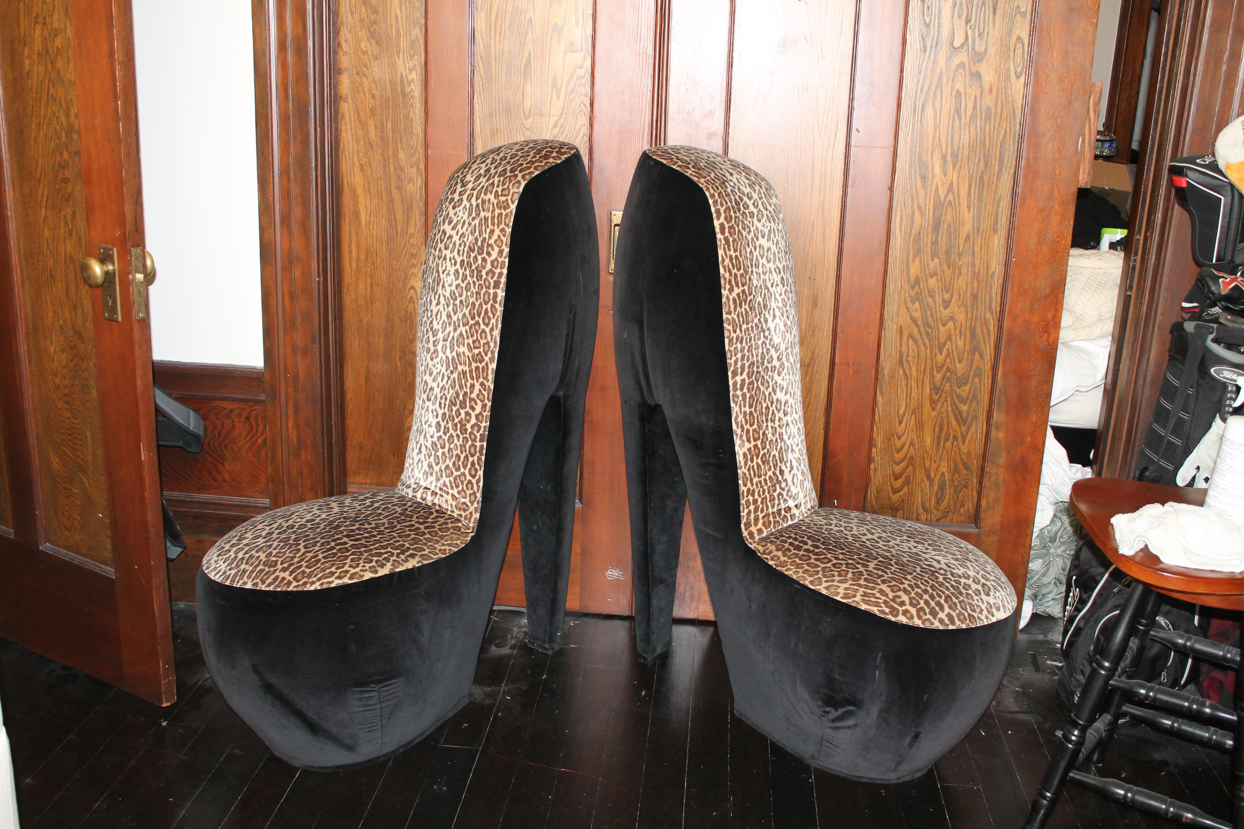 Leopard Print High Heel Shoe Chairs   A Pair For Sale   Image 3 Of