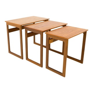 Mid Century Modern Kurt Ostervig Danish Teak Nesting Tables - Set of 3 For Sale