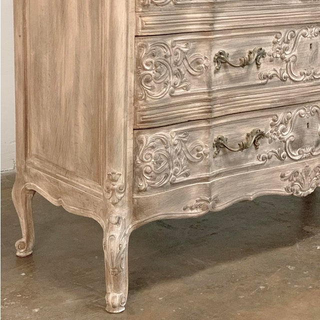 Antique Country French Whitewashed Oak Commode For Sale - Image 10 of 13