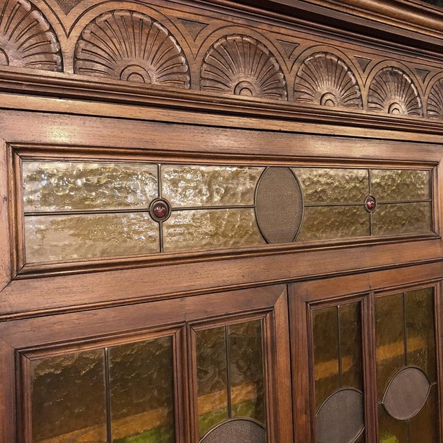Walnut Grand 19th Century Italian Renaissance Stained Glass Bookcase For Sale - Image 7 of 13