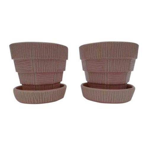 McCoy Pink Pottery Planters - A Pair - Image 1 of 3