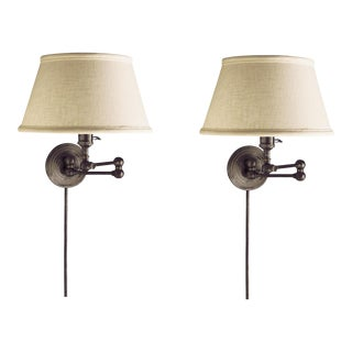 Bronze Boston Swing Arm Wall Lamps With Linen Shade by Visual Comfort - a Pair For Sale