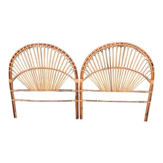 1960s Boho Chic Franco Albini Rattan Peacock Headboards - a Pair For Sale