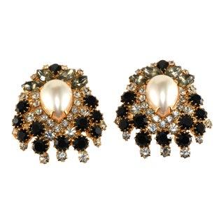 Kenneth Jay Lane Earrings Faux Pearls Black Clear Rhinestones For Sale