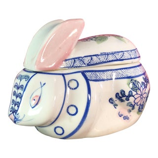 Vintage Chinoiserie Blue & White Bunny Box