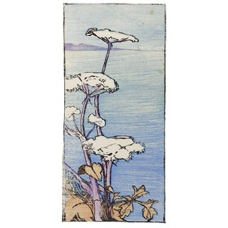 1919 Woodcut Print Seaside Wildflowers For Sale