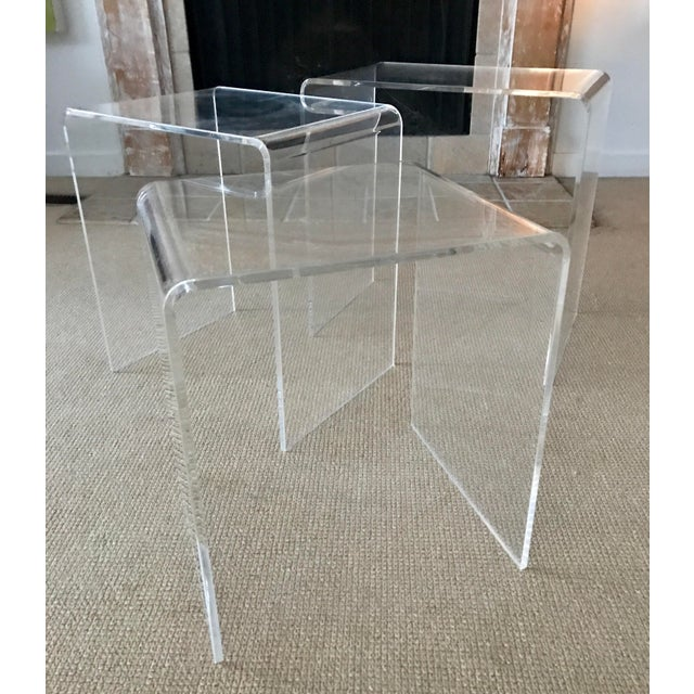 Vintage Lucite Nesting Tables - Set of 3 For Sale - Image 4 of 9